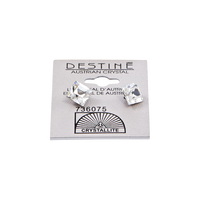 Destine Clear Faceted Square Earrings 8mm