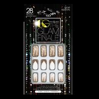 White & Gold Glitter Holiday Nails