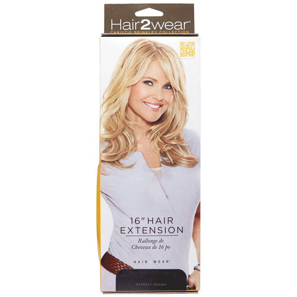 Hair2wear christie brinkley collection 16 inch clip in hair extension clip in darkest brown 16 inch hair extension pmusecretfo Choice Image
