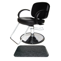 Layla Styling Chair with 3' x 5' Black Marbleized Rectangle Mat