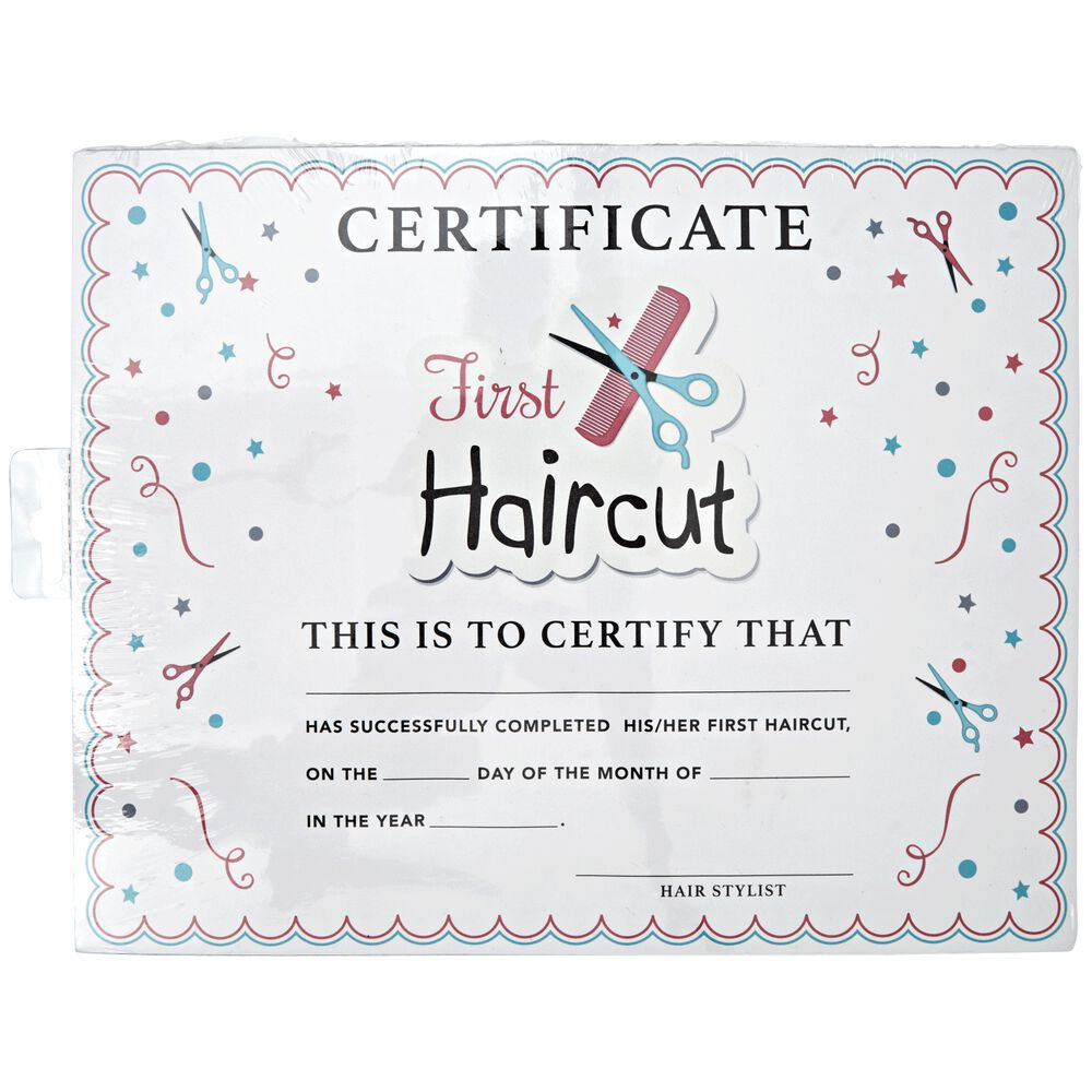 Salon care my first haircut certificate for My first haircut certificate template