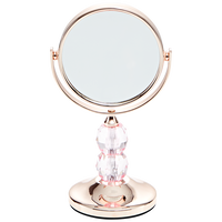 Rose Gold Travel Mirror with Clear Acrylic Ball Stem