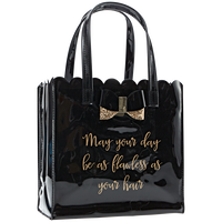 Hair Care Tote with Glitter Bow Black