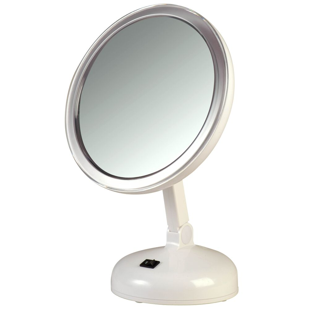Floxite 10x magnifying vanity mirror with 360 degree lighting for Lighted mirror