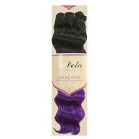 Loose Wave Ombre Purple 14 Inch Human Blend Hair