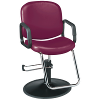 Chameleon Burgandy Styling Chair with Black Base