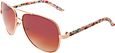 Gold & Floral Aviator Sunglasses