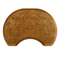 Bella Copper Leaf 2.5' X 3.5' Round Mat with Chair Depression
