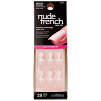 Medium Pink Square Nude French Nails