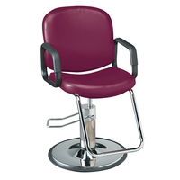 Chameleon Burgandy Styling Chair with Chrome Base