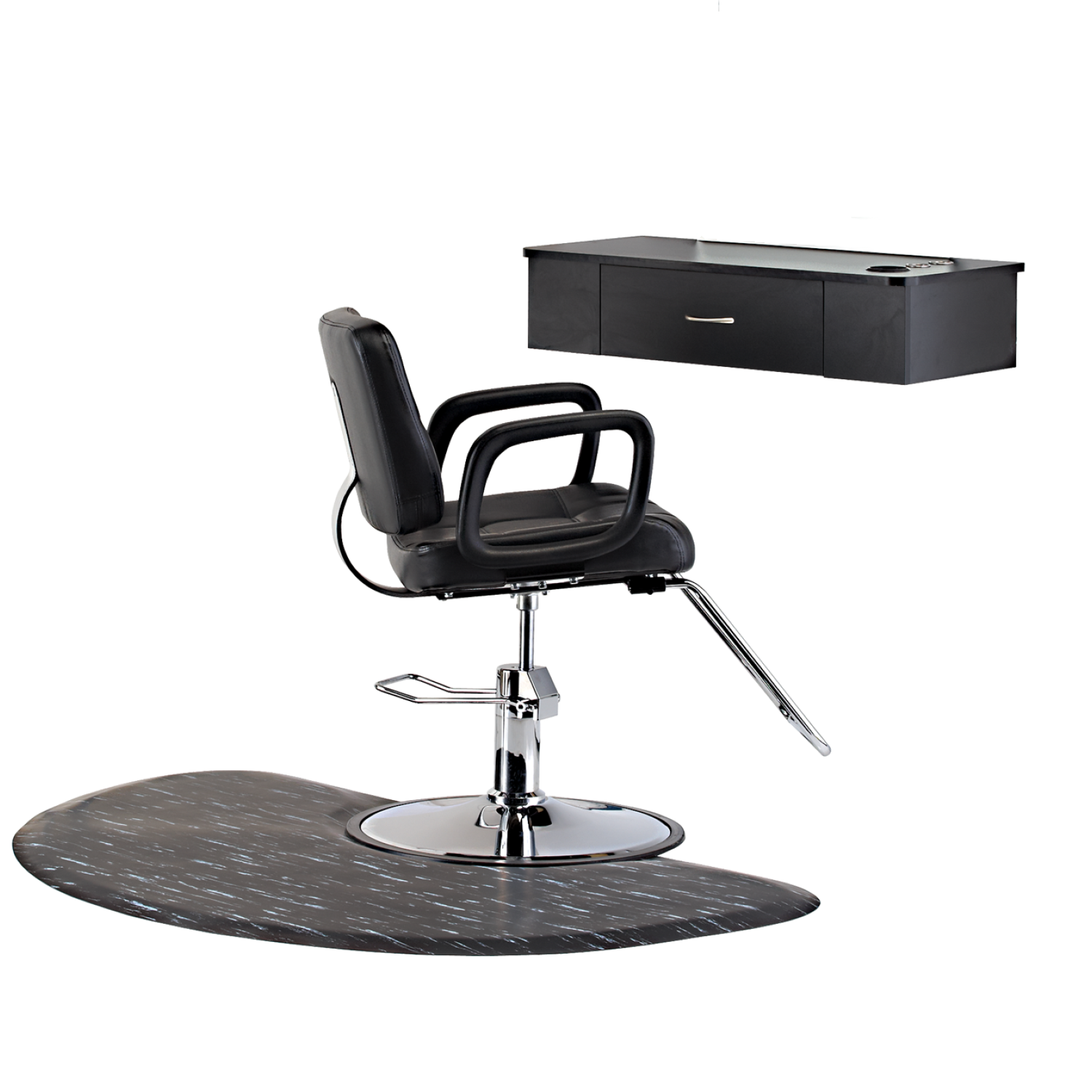 black station package with half circle floor mat at sally beauty