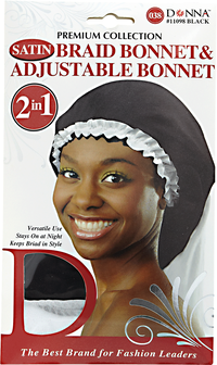 Black & White Adjustable Braid Bonnet