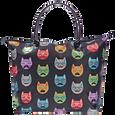 Black Satin Cat Print Tote Bag