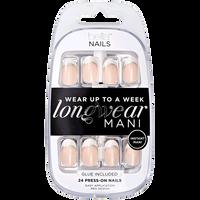 Press On Nails White & Silver Glitter