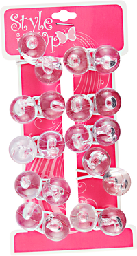Children's Clear Large Twin Bead Ponytailers