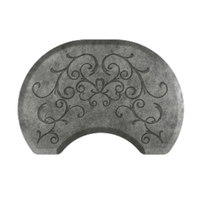 Bella Silver Leaf 2.5' X 3.5' Round Mat with Chair Depression
