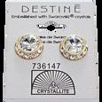 Crystal with Gold Rhinestone Rivoli Earrings