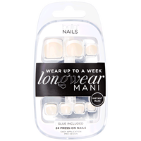 Press On Toe Nails White Tip Beige Base