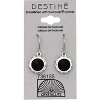 Destine Jet RS Rivoli Dangle Crystal Earring