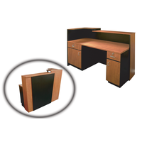 5004 Reception Desk Cherry With Black Trim