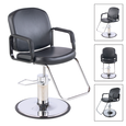 Pibbs Chameleon Black Styling Chair With Chrome Base