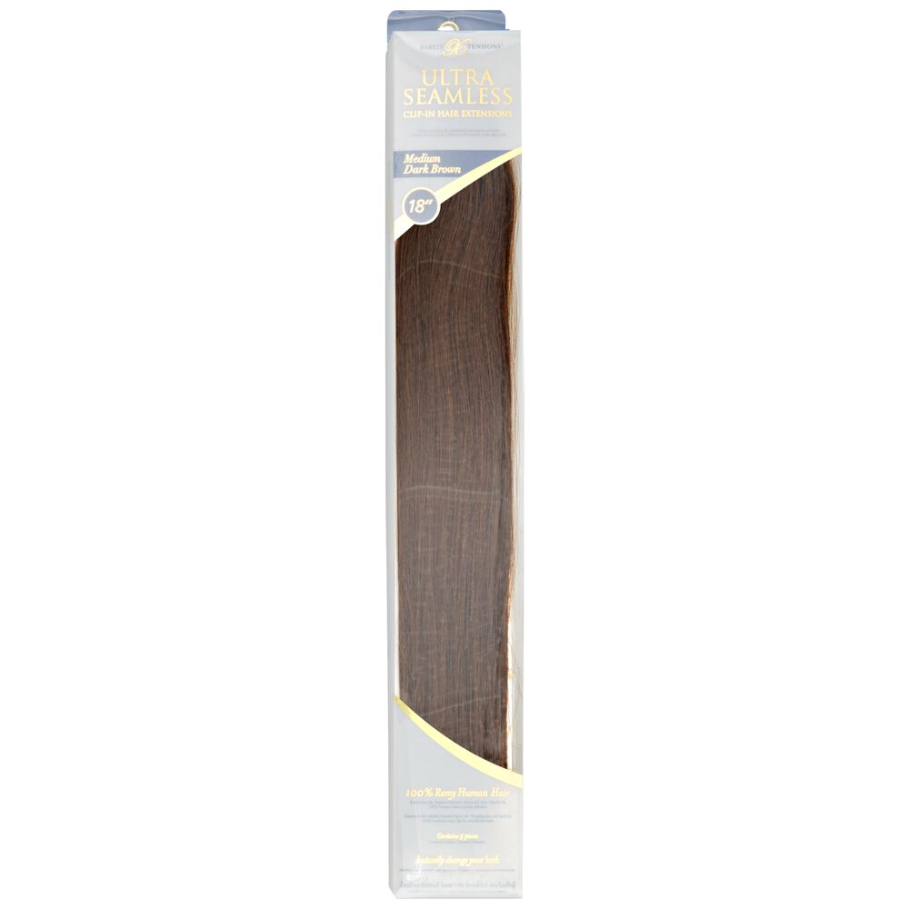 Barely Xtensions Ultra Seamless Clip In Medium Dark Brown Remy Hair