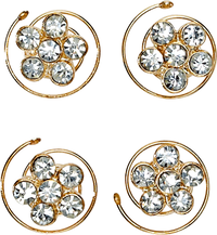 Flower Rhinestone Spinners 4 Count