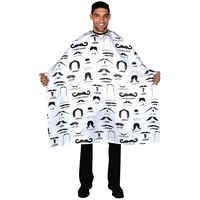 White Mustache Print Styling Cape