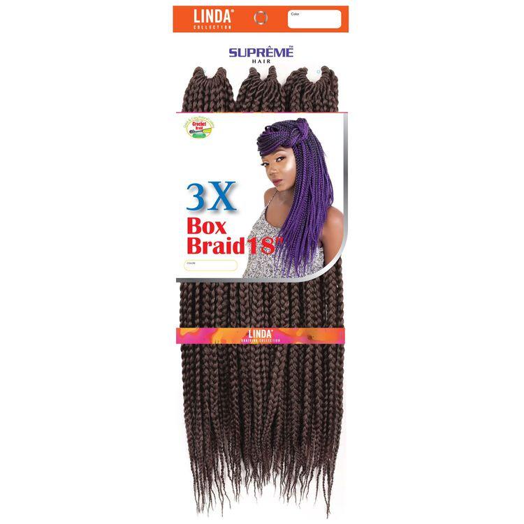 3X Box Braids 18 Inch Crochet Hair Dark Auburn