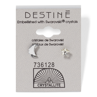 Destine Moon & Stars Clear Earrings