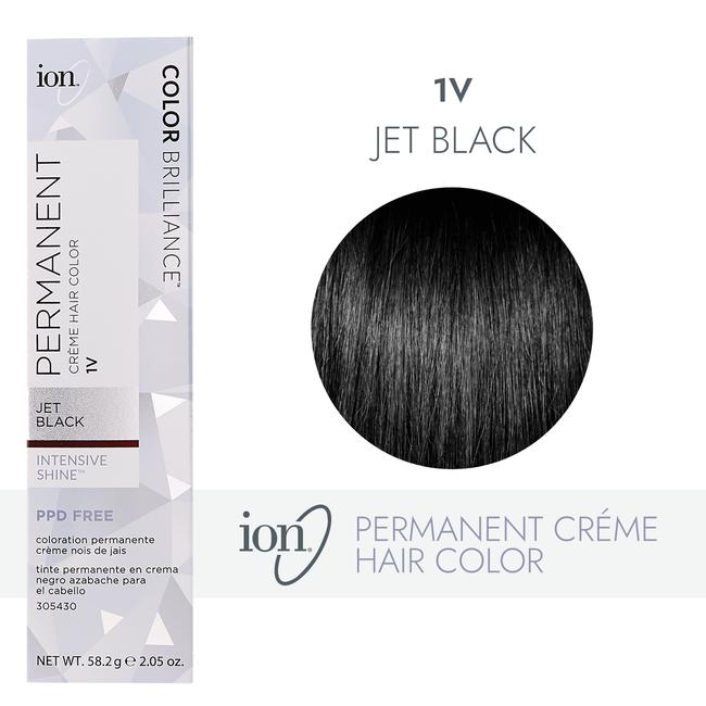 1V Jet Black Permanent Creme Hair Color