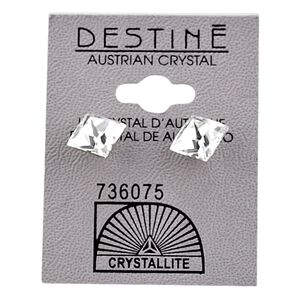 Destine Clear Faceted Square Earrings