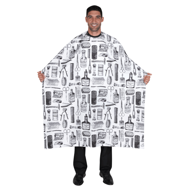 White Vintage Barber Print Styling Cape