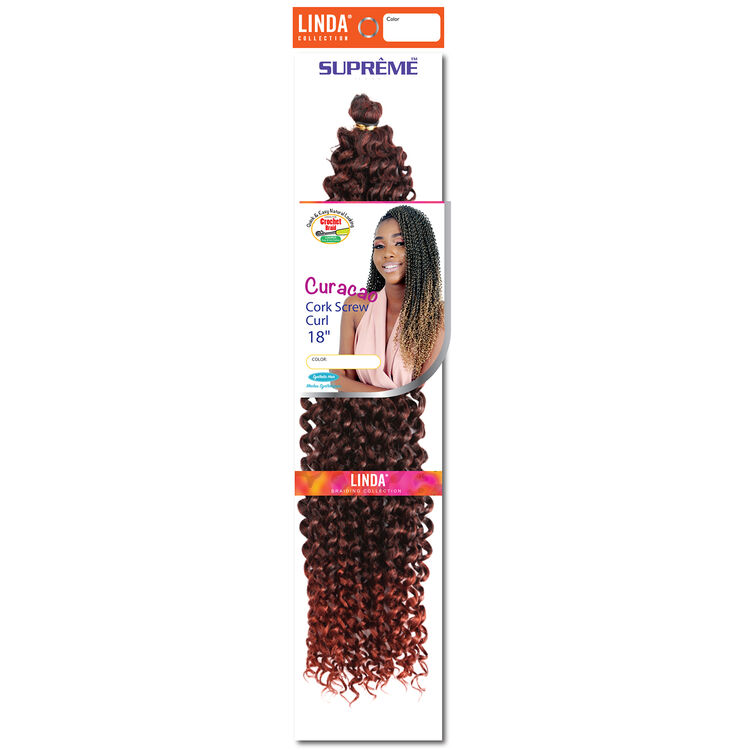 Ombre Black/Brandy Copper Curacao Cork Screw Curl 18 Inch Crochet Hair