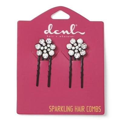 Black Crystal Mini Flower Combs