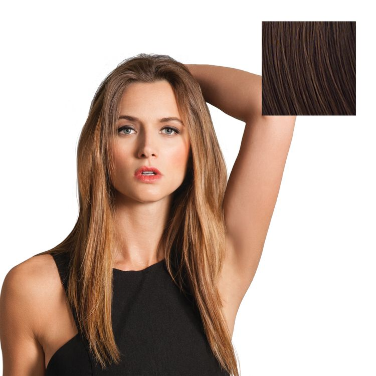 Clip-in 16 Inch 8-Piece Straight Extension Kit Chocolate Brown