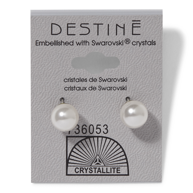 Destine White Pearl 8mm Earrings