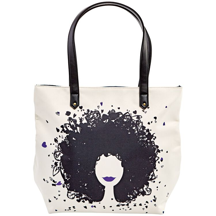 Hearts & Curls Tote Bag Purple