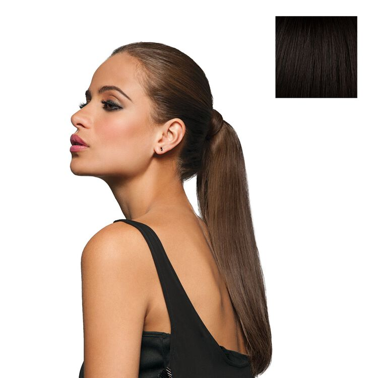 16 Inch Wrap-Around Human Hair Ponytail Black