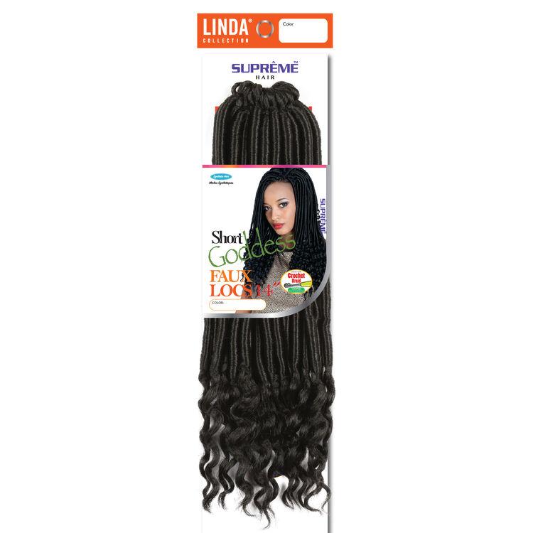 Short Goddess Faux Locs 14 Inch Crochet Hair Darkest Brown