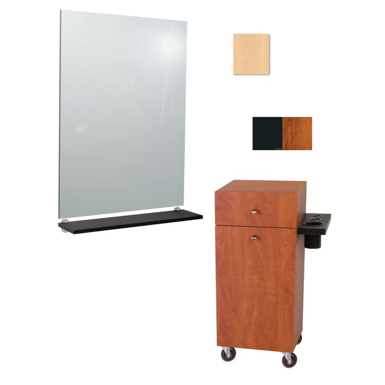 G06 Montego Mobile Styling Vanity with Mirror Fusion Maple