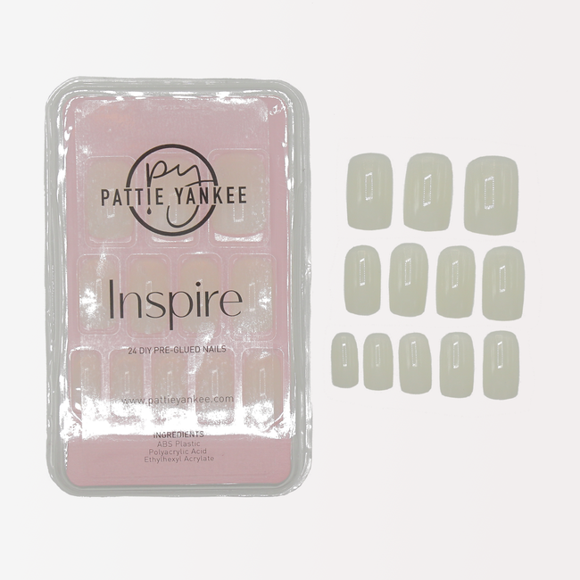 Inspire 24 DIY Pre-Glued Natural Square Nails