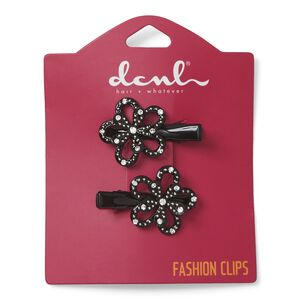 Black Flower Salon Clips
