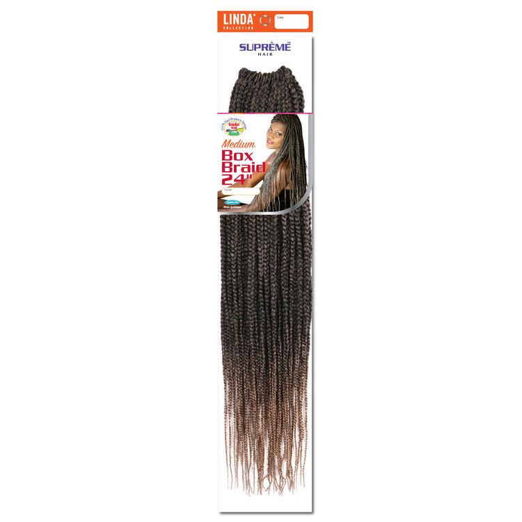 Box Braids 24 Inch Crochet Hair Ombre Black/Strawberry Blond