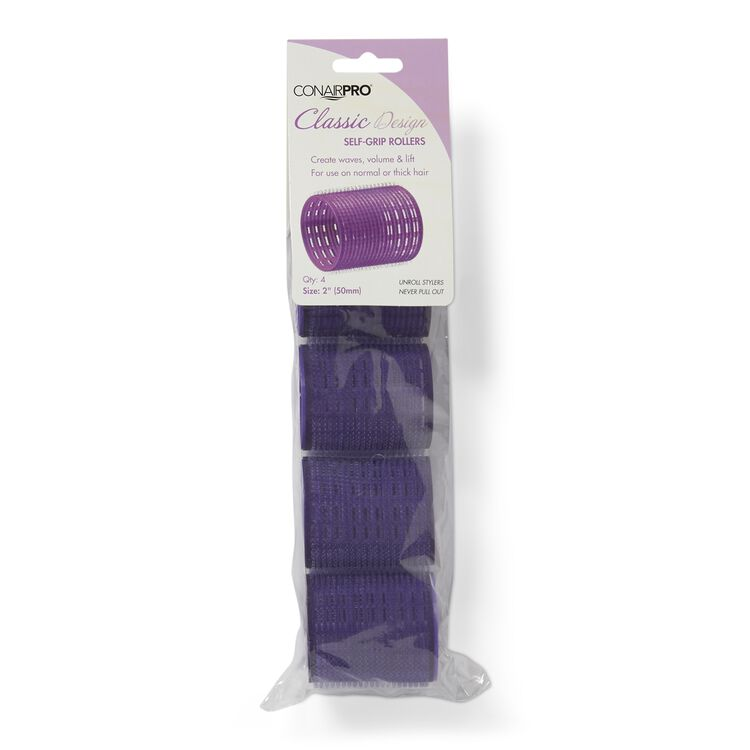 Purple 2 Inch Classic Style Self Grip Rollers 4 Pack
