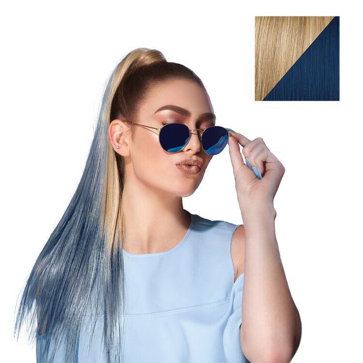 23 Inch Color Splash Ponytail Gold Wheat - Denim Blue