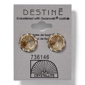 Golden Shadow Rhinestone Rivoli Earrings