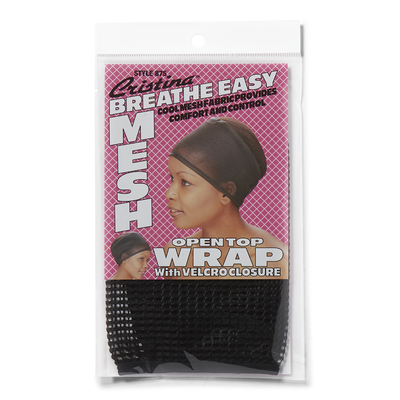 Open Top Mesh Wrap with Velcro Closure Black
