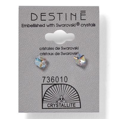 Destine Aurora Borealis Cube Earrings