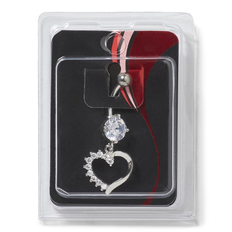 Stainless Steel 14G Heart Navel Dangle